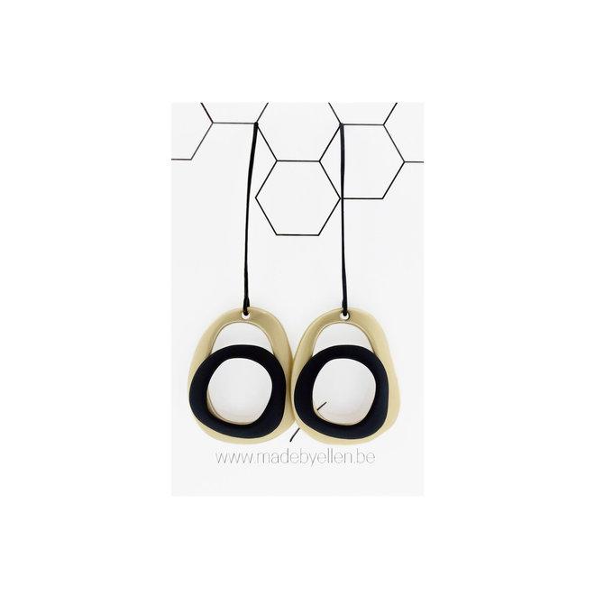 OorbEllen - lange haak - goud/zwart