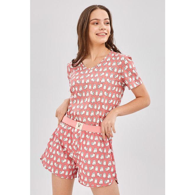 Happy Pijama Short PJs Set Cute Pugs