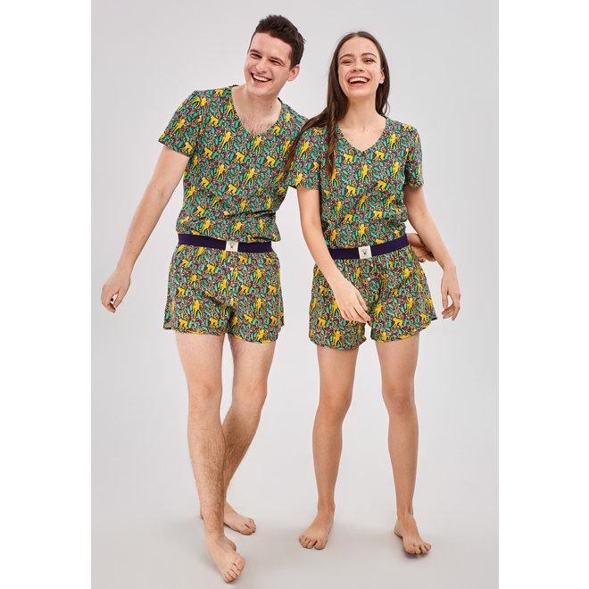 Happy Pijama Short PJs Set Monkey Party