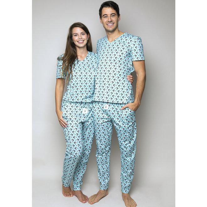 Happy Pijama Short PJs Set Skating Penguins