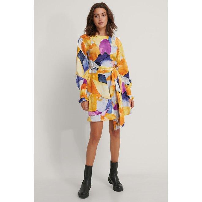 NA-KD Cotton printed tied waist dress