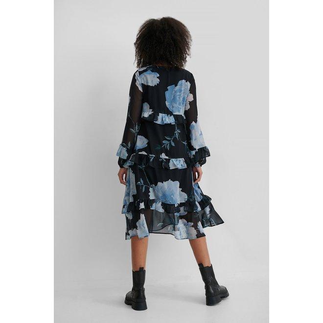 NA-KD Frill flowy v-neck dress bloemenprint blauw