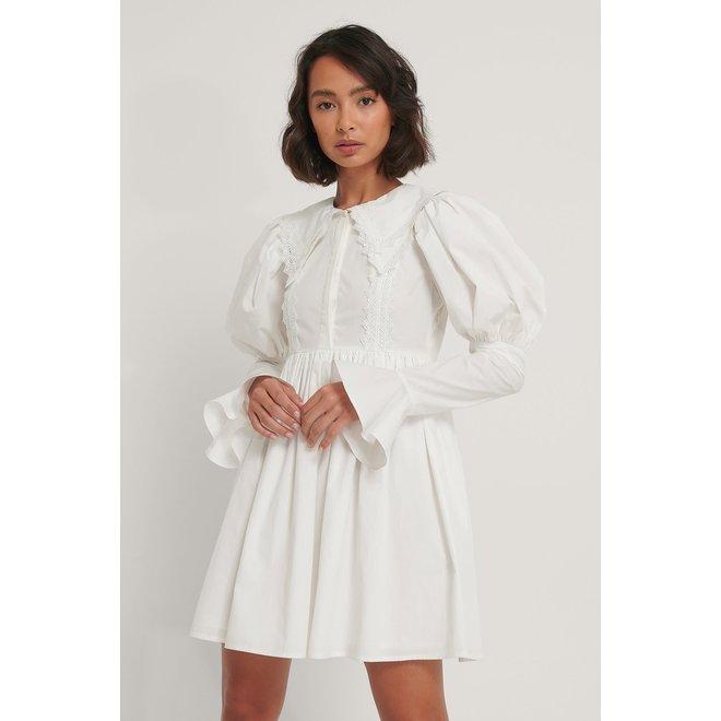 Na-KD Lace detail shirt dress wit