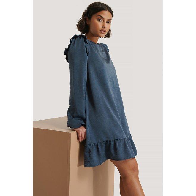 NA-KD Shoulder flounce mini dress nachtblauw
