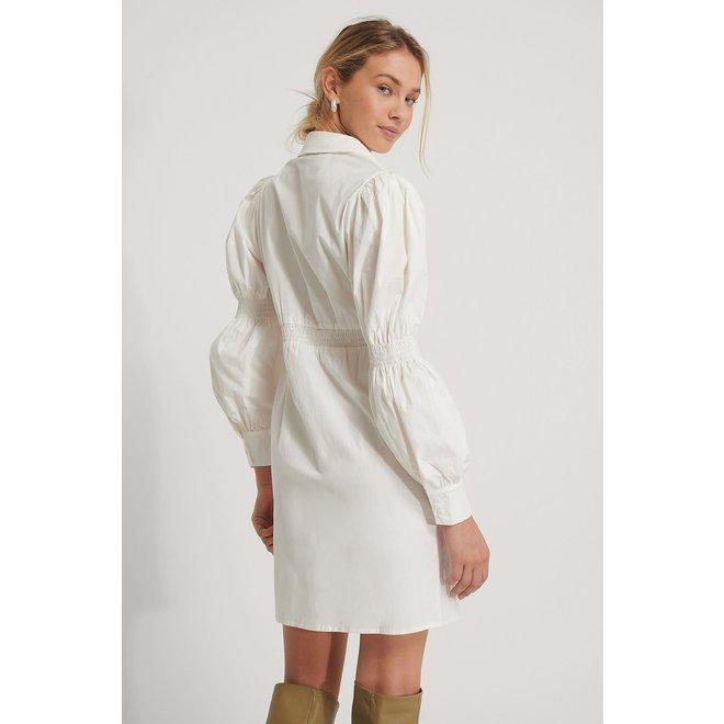 NA-KD Waist detail shirt dress wit