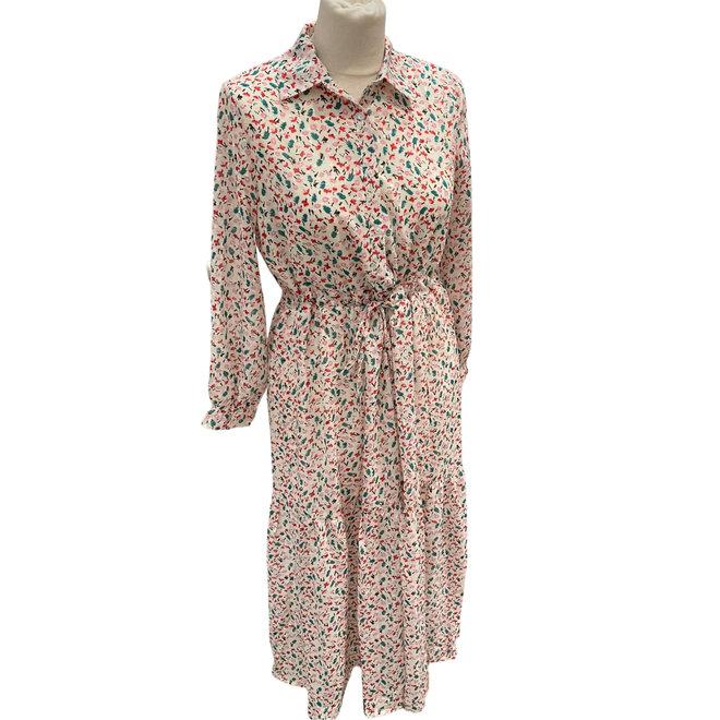 Kleed millenium wit met roze en roze vlekjes