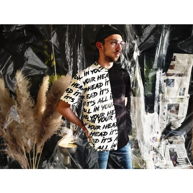 Elliot unisex t-shirt, half black, half letters