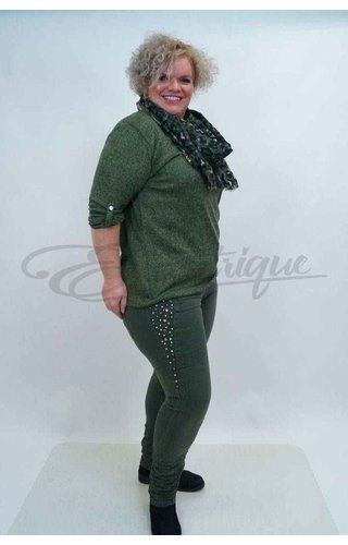 Karostar Karostar Stretch Jeans K8181-groen