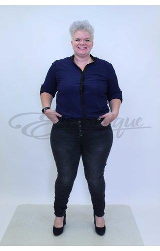 Karostar Karostar Jeans - Zwart met kettingbies