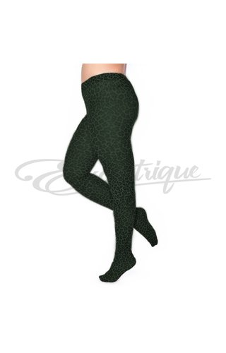 Pamela Mann Pamela Mann - 50 Denier Curvy Tights Leopard Forest Green