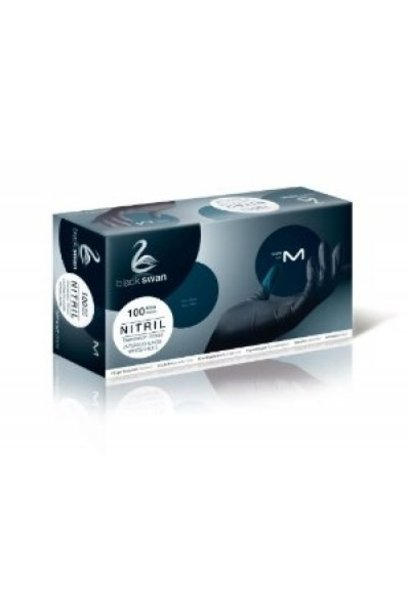100 Nitril-Handschuhe M Black Swan