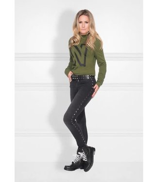 NIKKIE NIKKIE BETTY HEXAGON SKINNY JEANS - ZWART