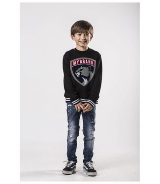 My brand MY BRAND KIDS PANTHER STRIPED SWEATER - ZWART