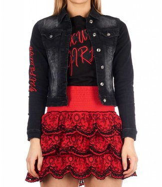 ROYAL TEMPTATION ROYAL TEMPTATION DENIM JACKET GAMBLING - ZWART