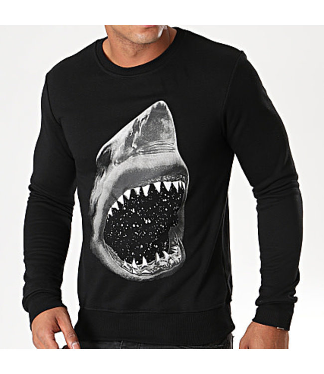 BERRY DENIM BERRY DENIM SHARK SWEATER - ZWART (DY011)