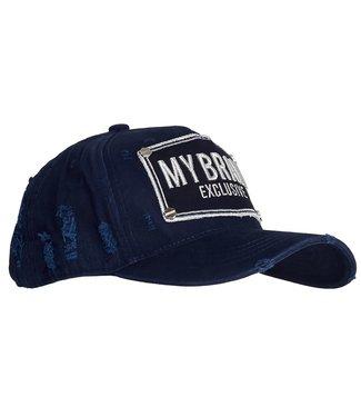 My brand MY  BRAND LOGO CAP - NAVY/ZILVER