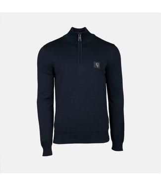 AB LIFESTYLE AB HALF ZIP TRICOT SWEATER - NAVY
