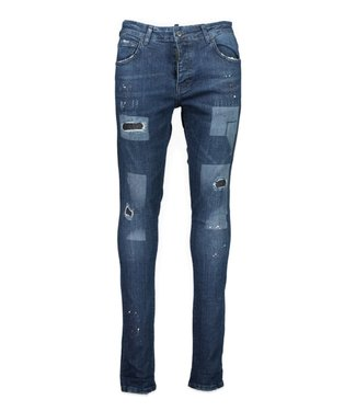 My brand MY BRAND SQUARED HOLES SPOTS JEANS - BLAUW