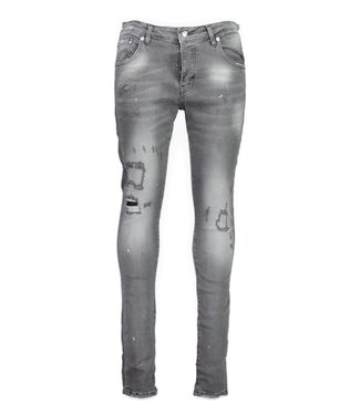 My brand MY BRAND WASHED RIPPED SPOTS JEANS - ZWART