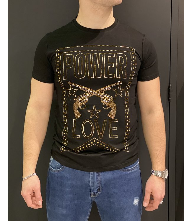 MTX MTX DIAMOND POWER LOVE T-SHIRT - ZWART/GOUD (AK-3389)