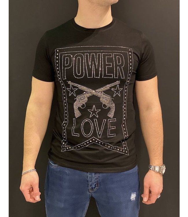 MTX MTX DIAMOND POWER LOVE T-SHIRT - ZWART/ZILVER (AK-3389)