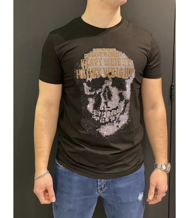 MTX MTX DIAMOND HEAVY WEIGHT SKULL T-SHIRT - ZWART (C5010-1)