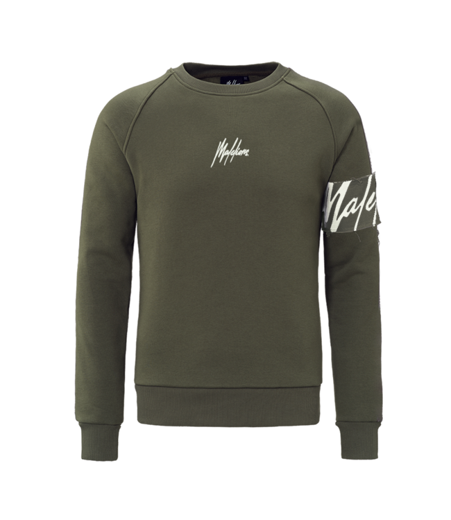 MALELIONS MALELIONS CREWNECK CAPTAIN - ARMY/OFF- WHITE