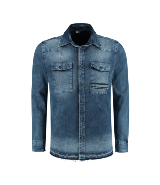 CARTELLO CARTELLO  DENIM SHIRT - BLAUW