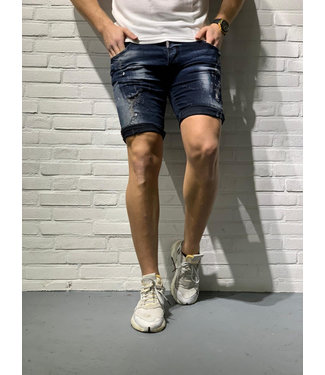 INTELLIGENCE SHORT JEANS PAINTED - BLUE