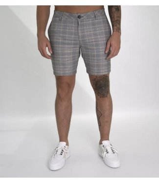 AB LIFESTYLE MATCHING CHECKERS CHINO SHORT - GREY/WHITE