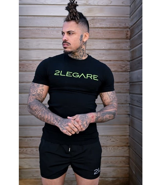 2LEGARE LOGO EMBROIDERY TEE - BLACK/NEON YELLOW