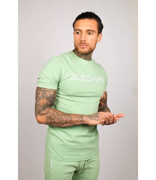 2LEGARE LOGO EMBROIDERY TEE - LIGHT ARMY GREEN