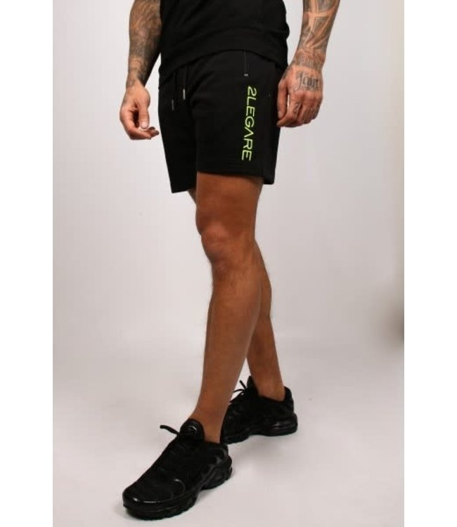 2LEGARE EMBROIDERY SHORT - BLACK/NEON YELLOW