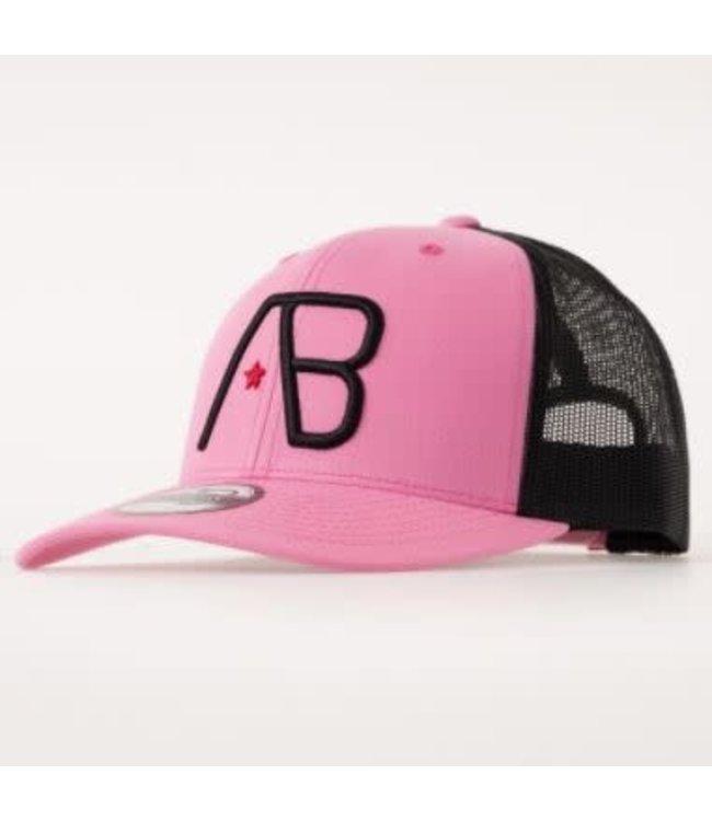 AB LIFESTYLE RETRO TRUCKER CAP - BLACK ON PINK