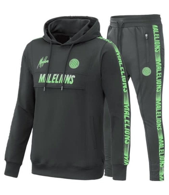 MALELIONS SPORT WARMING UP TRACKSUIT - ANTRACIET/NEON GREEN