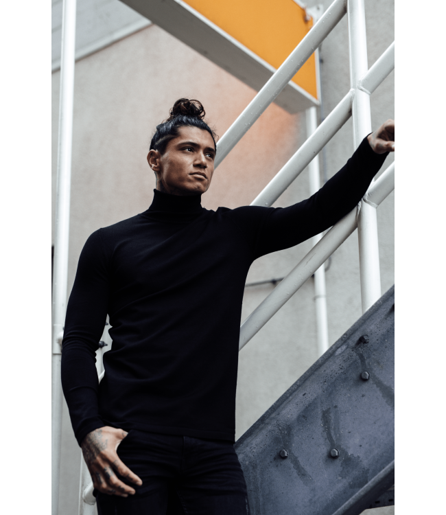 2LEGARE TURTLENECK KNITWEAR - BLACK