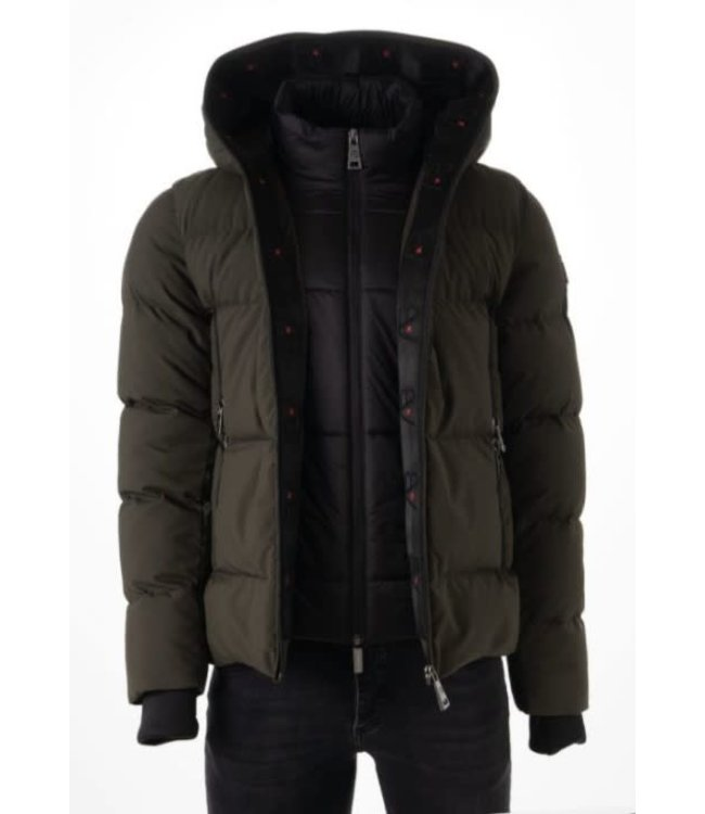 AB LIFESTYLE HOODED DOWN JACKET - ARMY GREEN