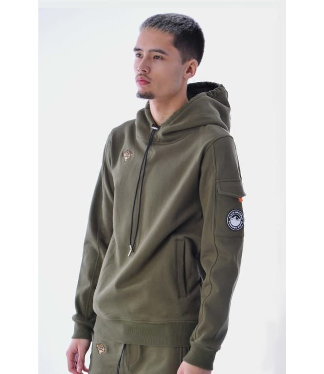 BLACK BANANAS STATEMENT HOODY - MOSS GREEN
