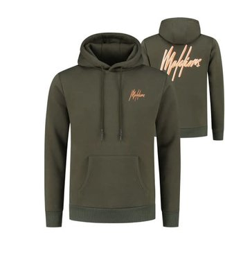 MALELIONS DOUBLE SIGNATURE HOODIE - ARMY/NEON ORANGE