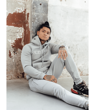 2LEGARE LOGO EMBROIDERY TRACKSUIT - LIGHT GREY/WHITE