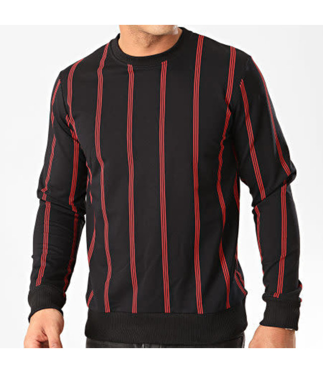 Frilivin Striped Crewneck - Black/Red (090)