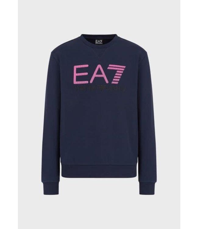 EA7 EMPORIO ARMANI Embossed Logo Sweater - Navy Blue (3KPME9)