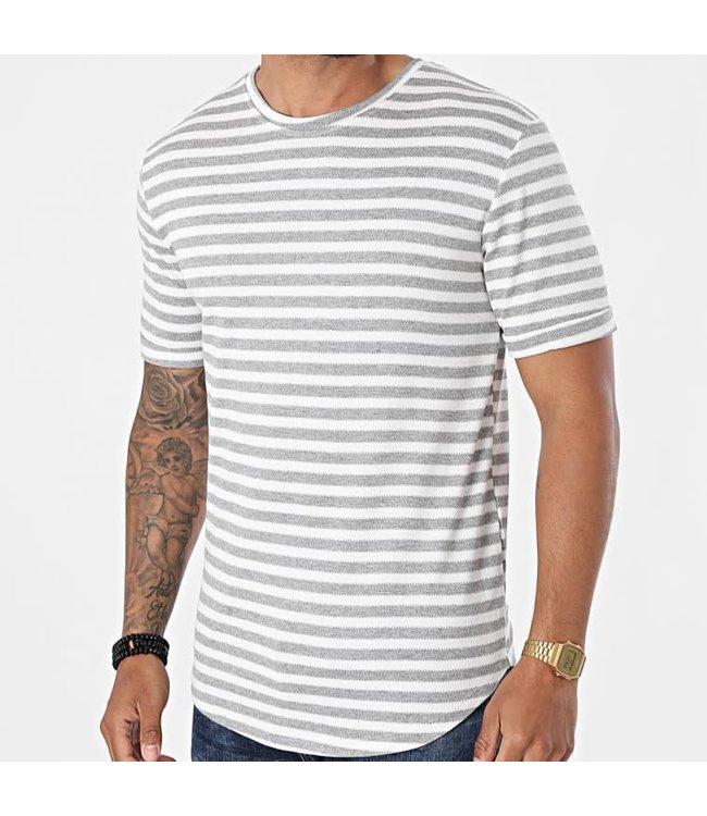 Frilivin T-Shirt Stripes - White/Grey (15238)