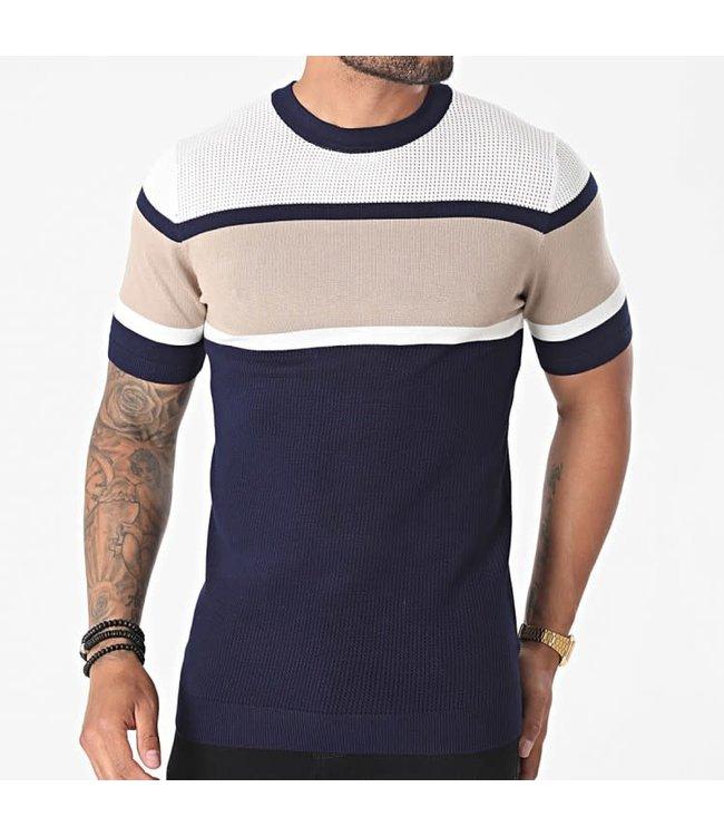 Frilivin T-Shirt - Navy/Beige/White (FA5018)