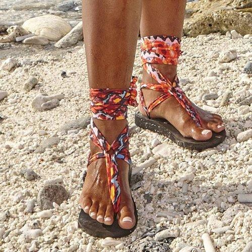 Boho Sandal Laces Red Python