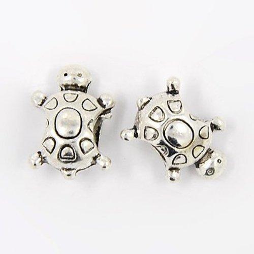 Silver Turtle Charm Round