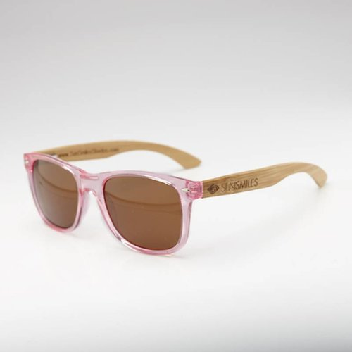 Bamboo Sunglasses Pink Transparent Frame