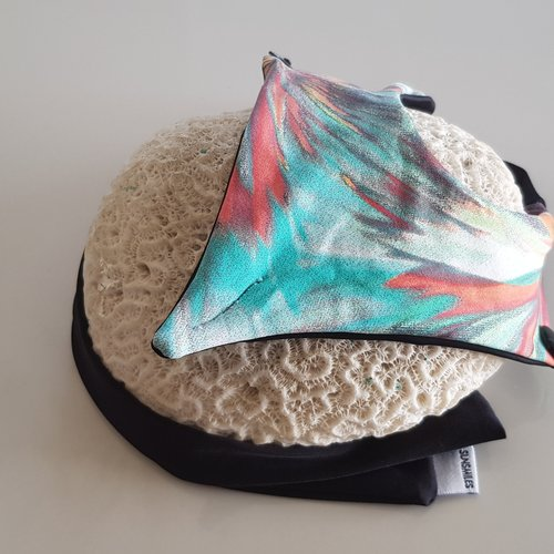 Stoff-Sandalen im Ballet-Stil Turquoise Tie-dye