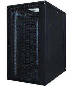 Serverkast 19'' 22U 600x1200x1000mm (BxHxD) Stalen geperforeerde voordeur en achterzijde Zwart