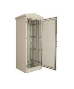 Serverkast 19'' 24U 600x2000x600mm (BxHxD) Stalen voordeur en achterzijde Grijs Ip55 Outdoor Enkelwandig met regendak